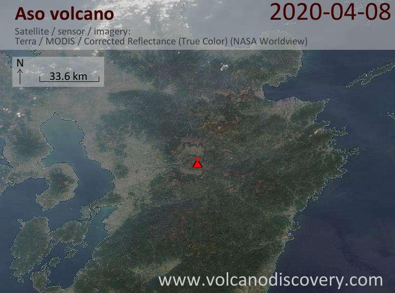 Спутниковое изображение вулкана Aso  8 Apr 2020