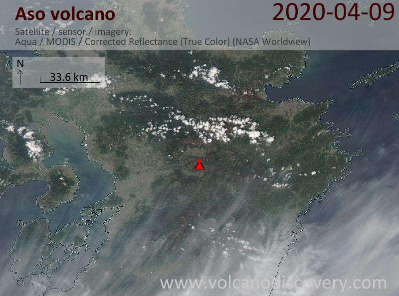 Satellite image of Aso volcano on  9 Apr 2020
