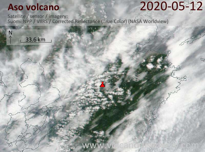 Satellite image of Aso volcano on 13 May 2020