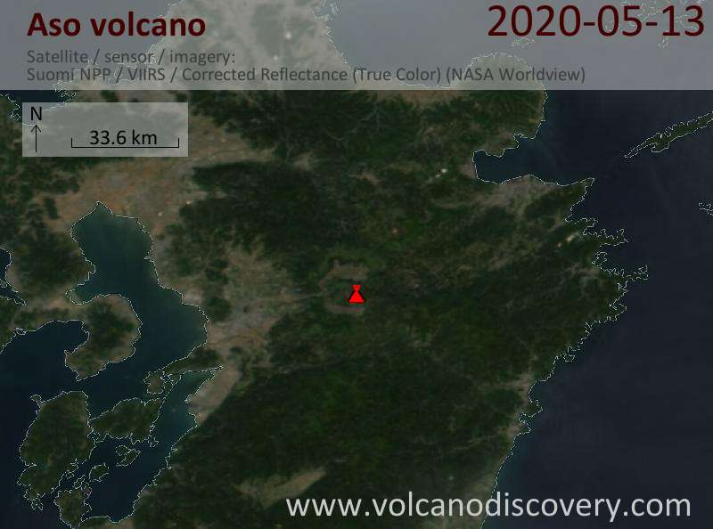 Satellite image of Aso volcano on 14 May 2020
