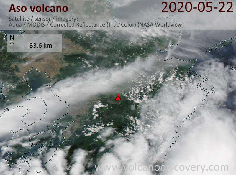 Satellite image of Aso volcano on 22 May 2020