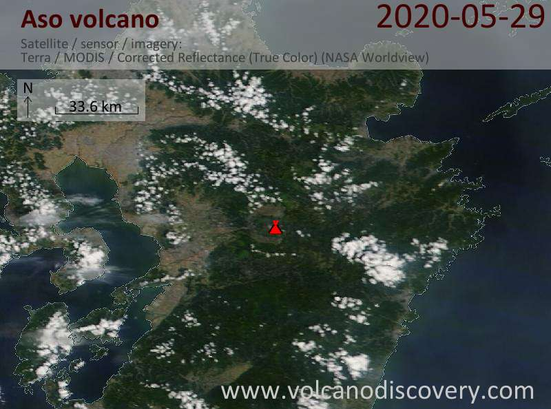 Satellite image of Aso volcano on 29 May 2020