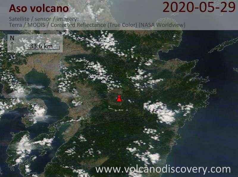 Спутниковое изображение вулкана Aso 29 May 2020