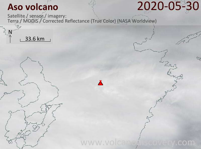 Satellite image of Aso volcano on 30 May 2020