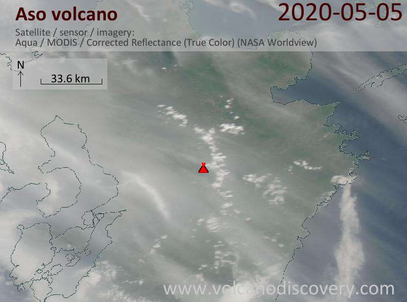 Satellite image of Aso volcano on  6 May 2020