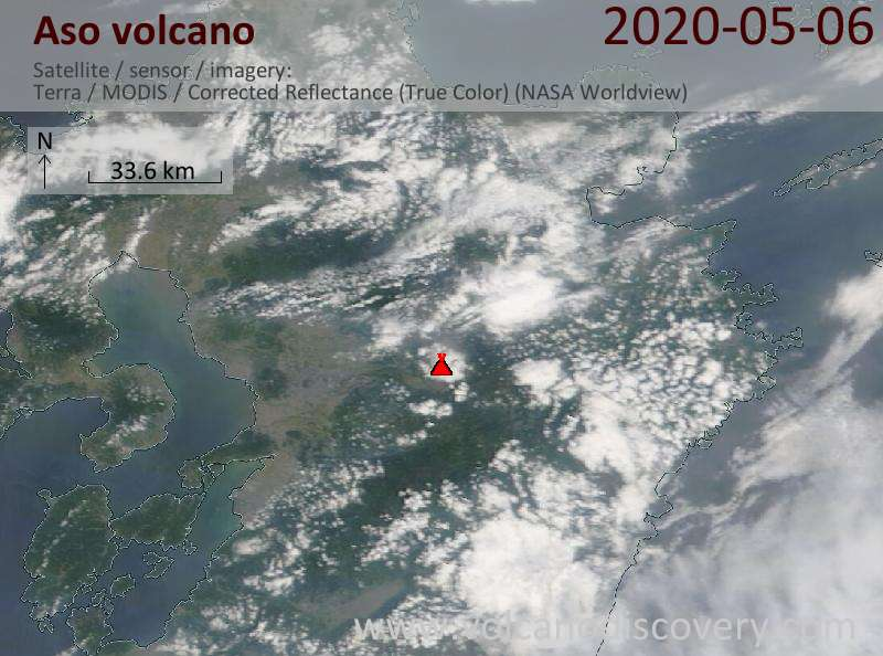 Satellite image of Aso volcano on  7 May 2020