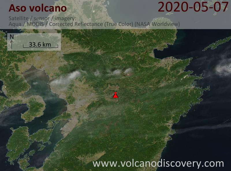 Satellite image of Aso volcano on  8 May 2020