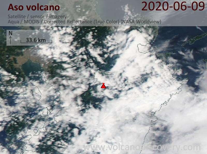 Satellite image of Aso volcano on 10 Jun 2020