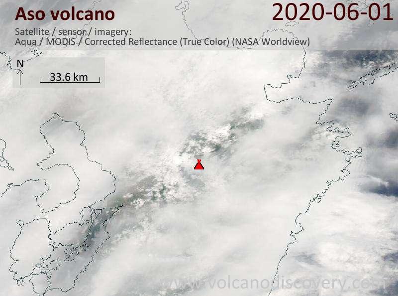 Satellite image of Aso volcano on  2 Jun 2020