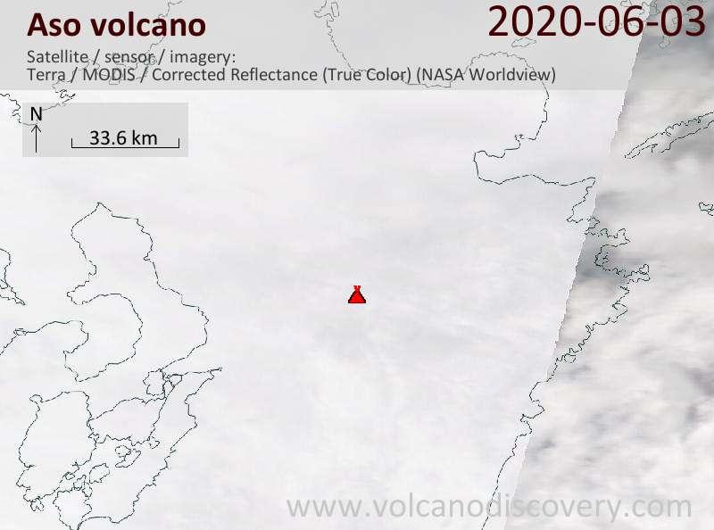 Satellite image of Aso volcano on  3 Jun 2020