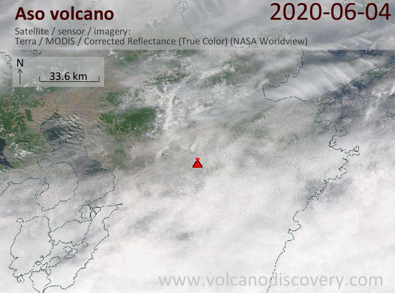 Satellite image of Aso volcano on  4 Jun 2020