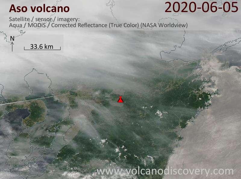 Satellite image of Aso volcano on  5 Jun 2020