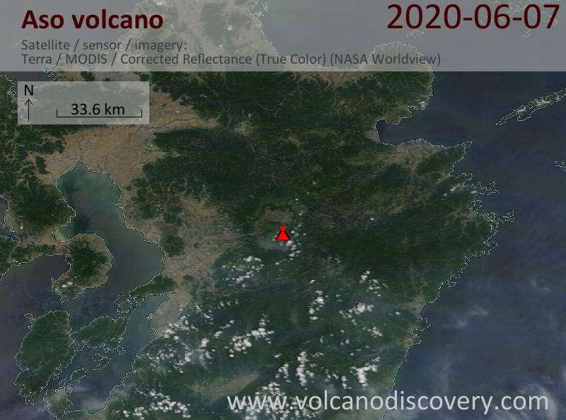 Satellite image of Aso volcano on  7 Jun 2020