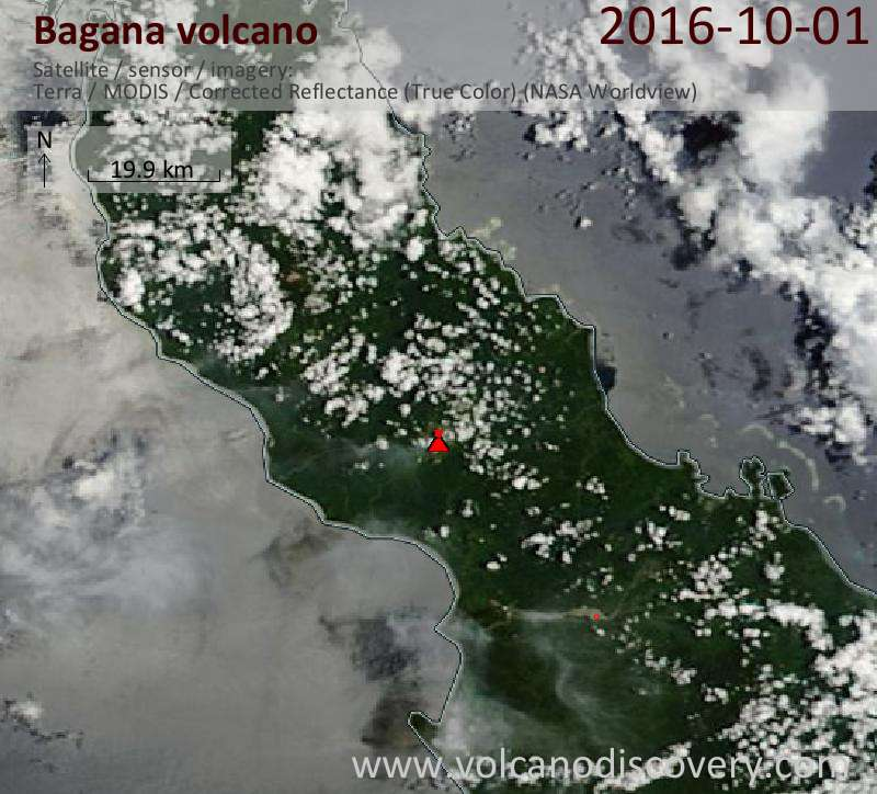 Satellite image of Bagana volcano on  1 Oct 2016