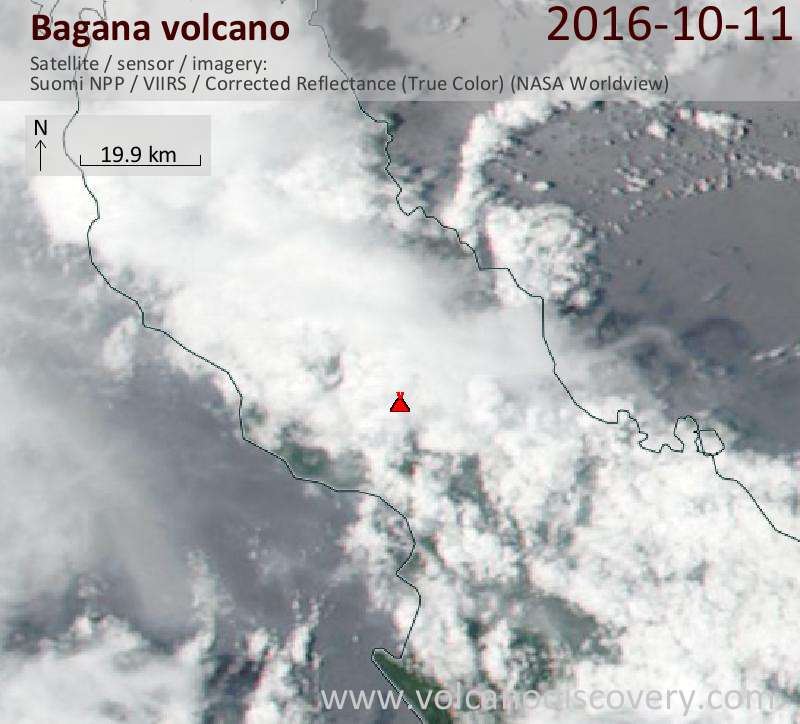 Satellite image of Bagana volcano on 11 Oct 2016