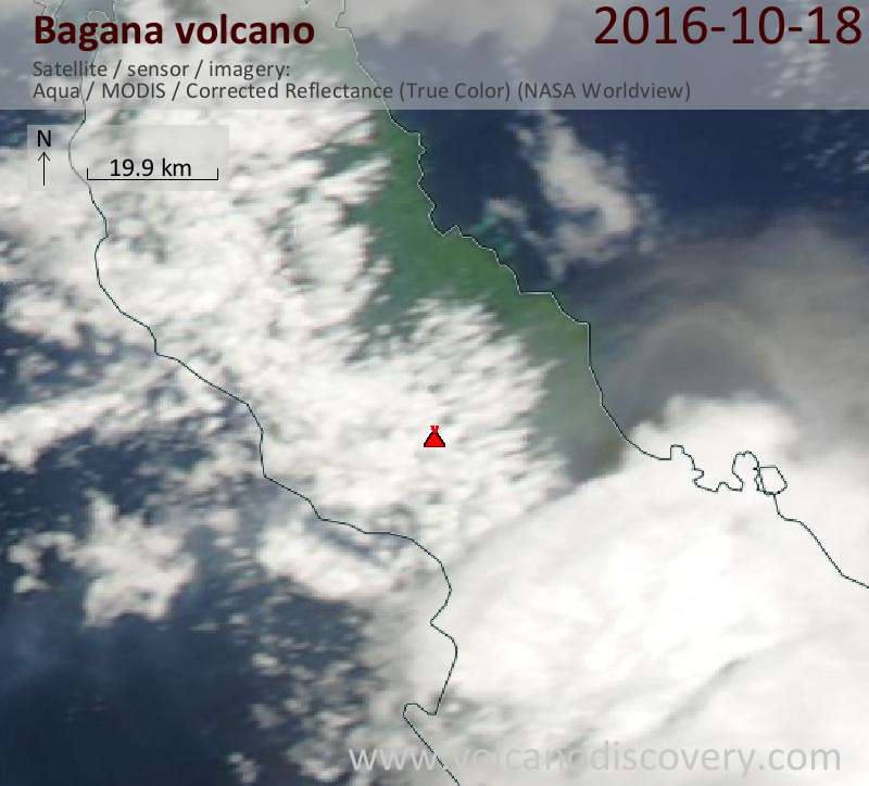 Satellite image of Bagana volcano on 18 Oct 2016