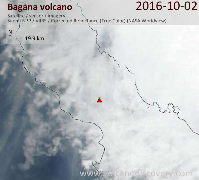 Satellite image of Bagana volcano on  2 Oct 2016