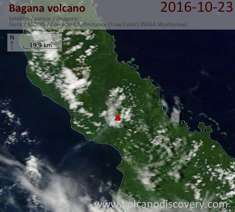 Satellite image of Bagana volcano on 23 Oct 2016