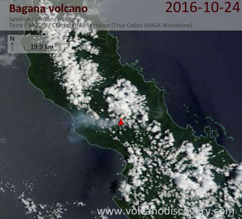 Satellite image of Bagana volcano on 24 Oct 2016