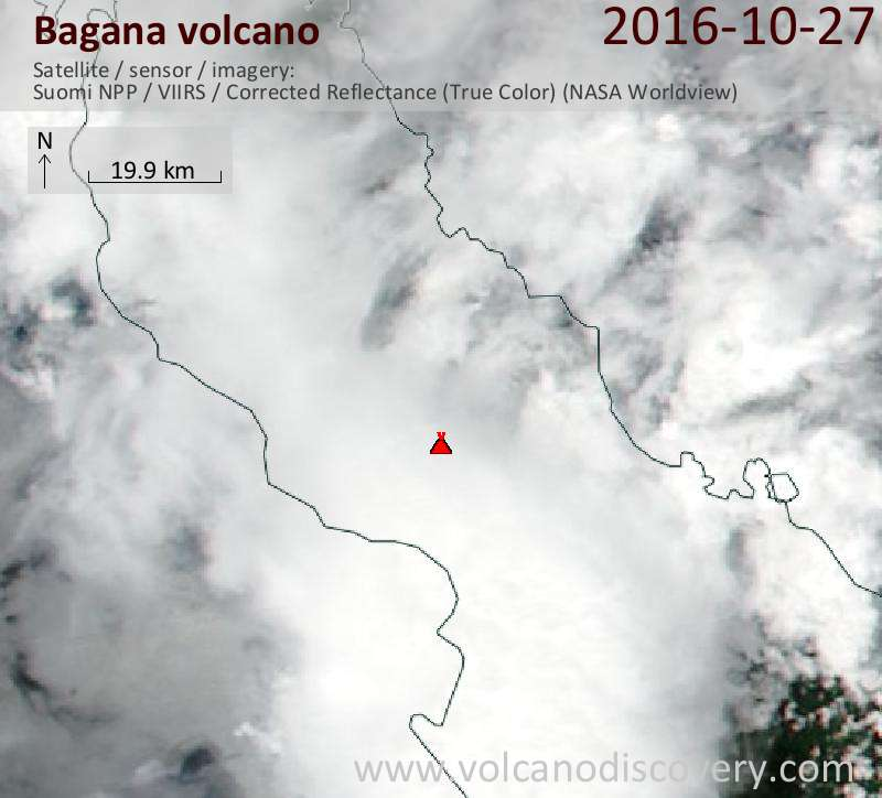 Satellite image of Bagana volcano on 27 Oct 2016