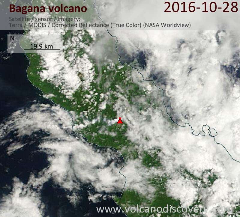 Satellite image of Bagana volcano on 28 Oct 2016