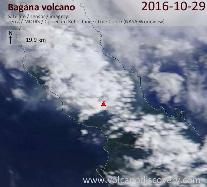 Satellite image of Bagana volcano on 29 Oct 2016