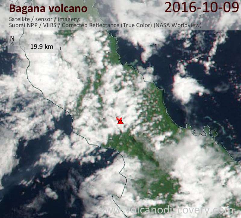 Satellite image of Bagana volcano on  9 Oct 2016
