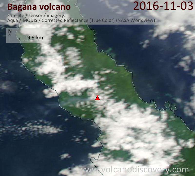 Satellite image of Bagana volcano on  3 Nov 2016
