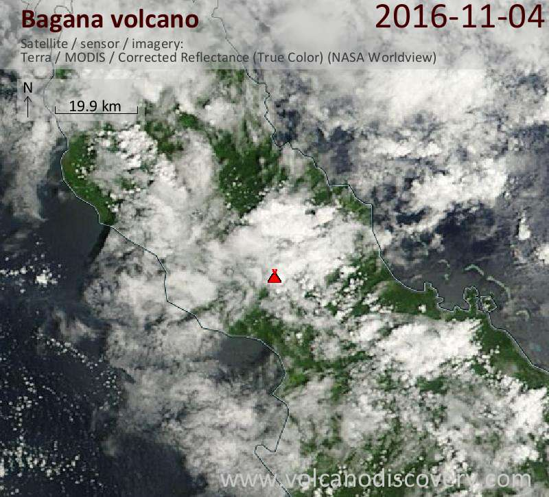 Satellite image of Bagana volcano on  4 Nov 2016