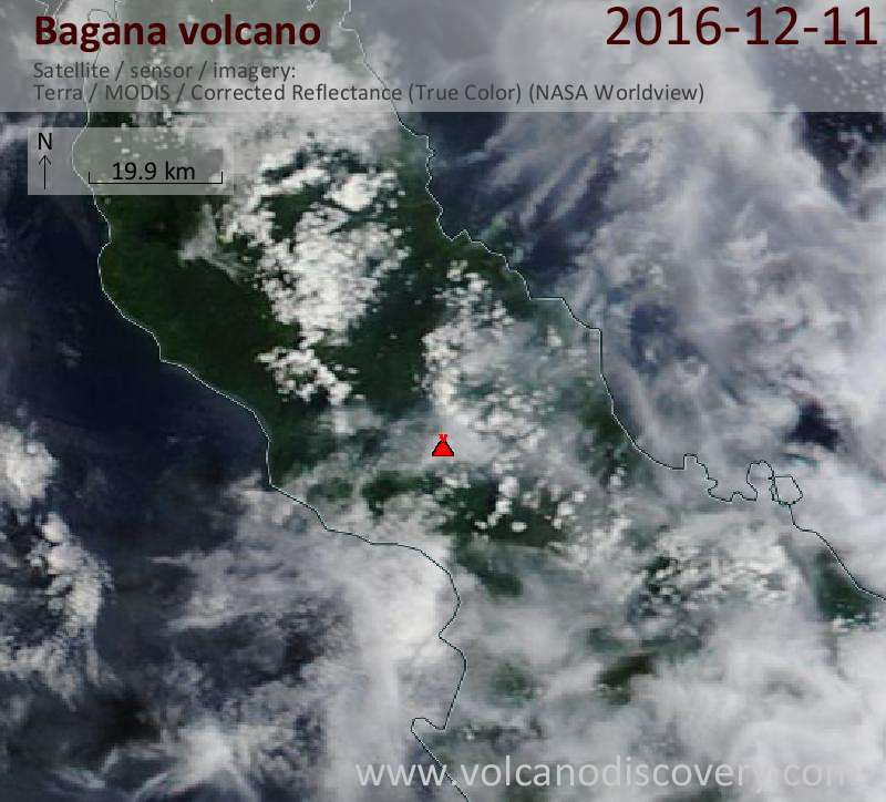 Satellite image of Bagana volcano on 11 Dec 2016