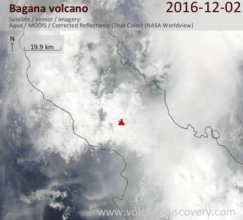 Satellite image of Bagana volcano on  2 Dec 2016