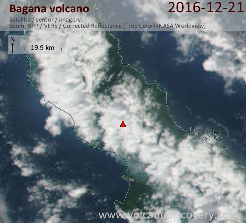 Satellite image of Bagana volcano on 21 Dec 2016