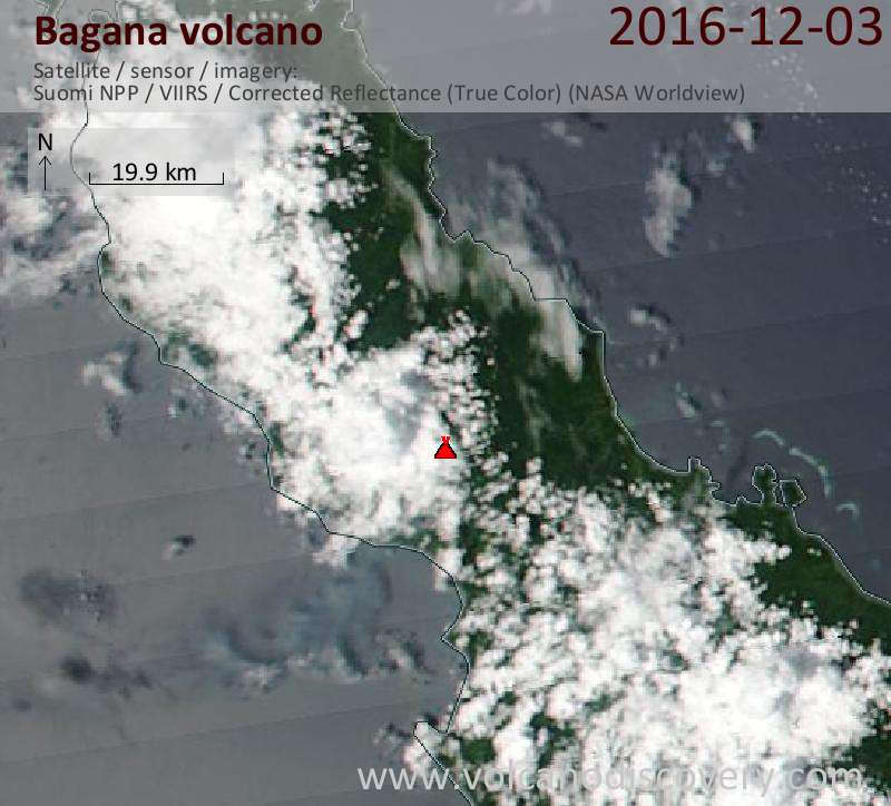 Satellite image of Bagana volcano on  3 Dec 2016