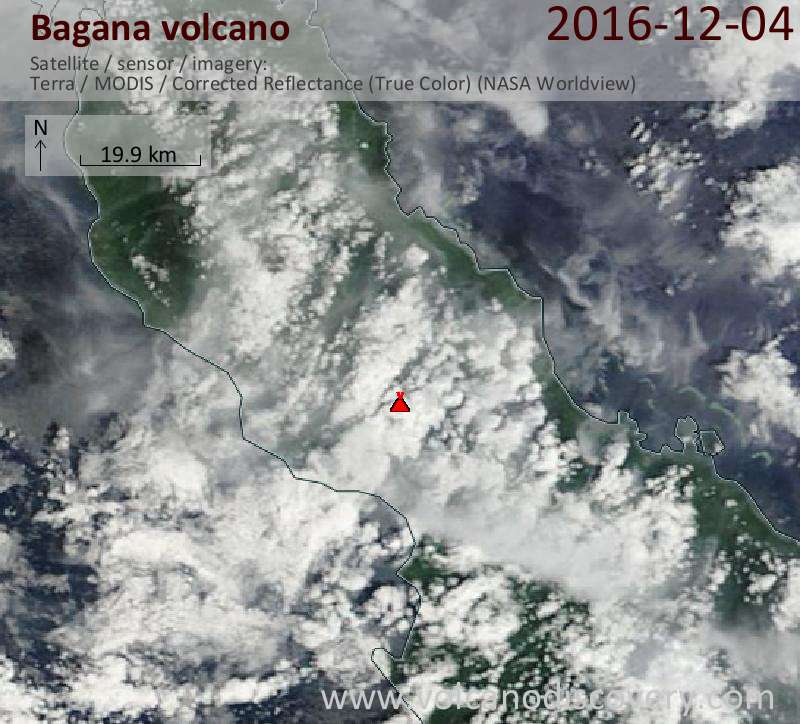 Satellite image of Bagana volcano on  4 Dec 2016