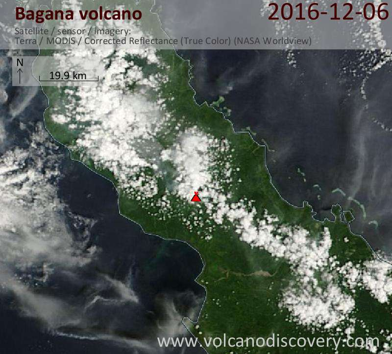 Satellite image of Bagana volcano on  6 Dec 2016