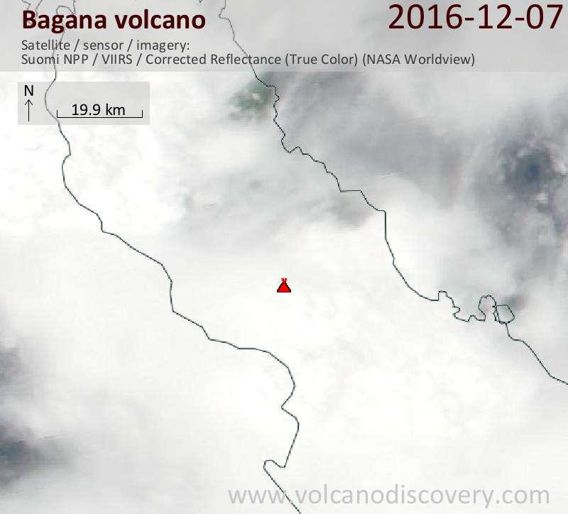 Satellite image of Bagana volcano on  7 Dec 2016