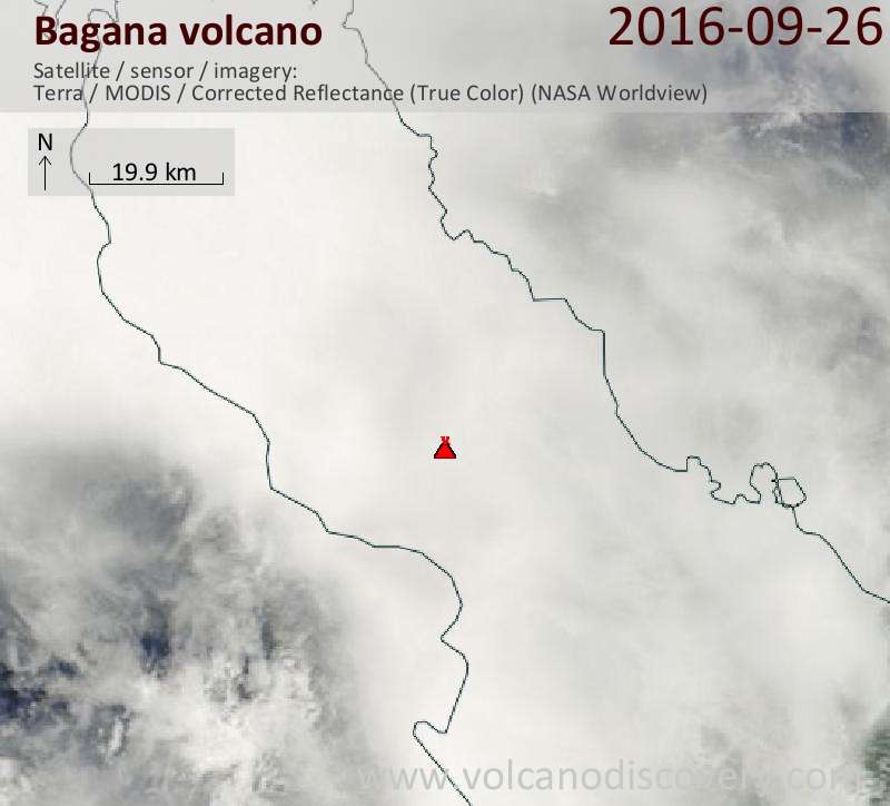 Satellite image of Bagana volcano on 26 Sep 2016