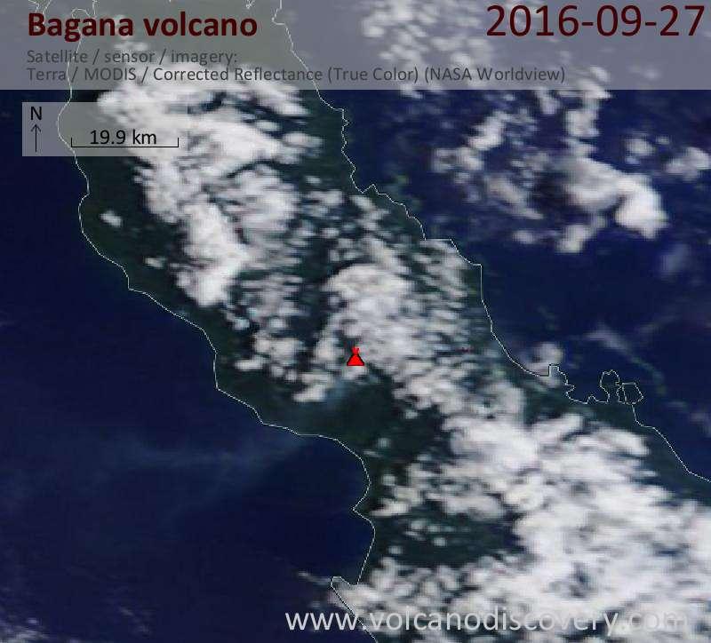 Satellite image of Bagana volcano on 27 Sep 2016