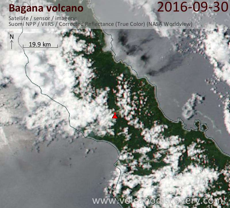 Satellite image of Bagana volcano on 30 Sep 2016