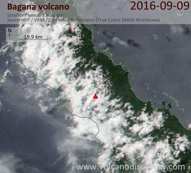 Satellite image of Bagana volcano on  9 Sep 2016