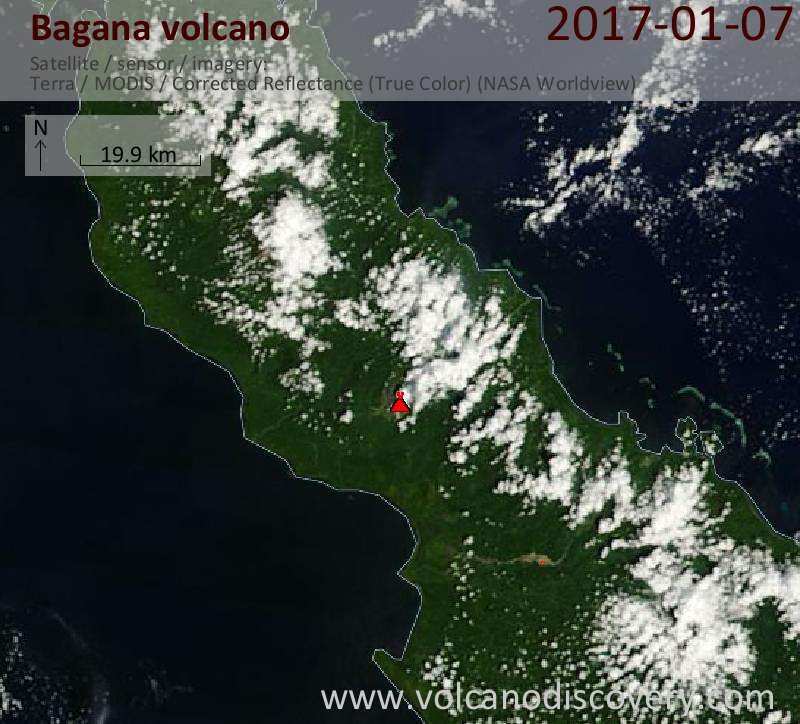 Satellite image of Bagana volcano on  7 Jan 2017