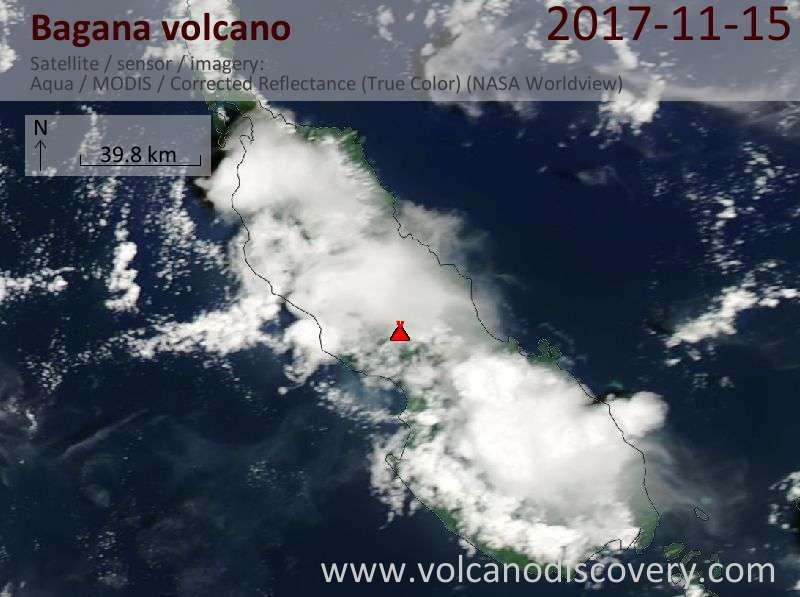Satellite image of Bagana volcano on 15 Nov 2017