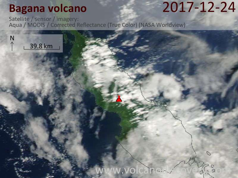 Satellite image of Bagana volcano on 24 Dec 2017