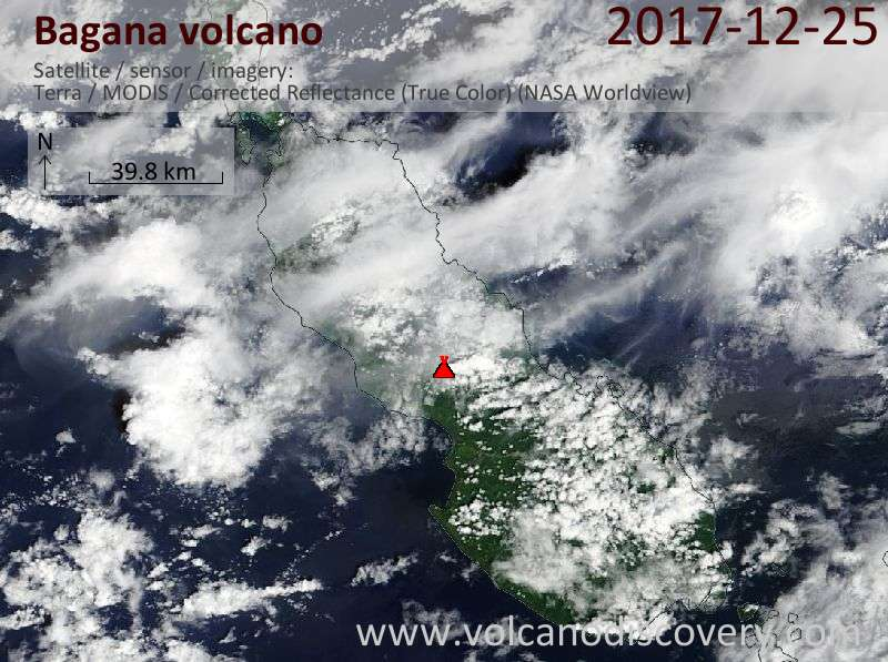 Satellite image of Bagana volcano on 25 Dec 2017