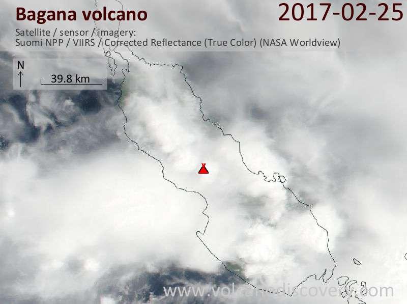 Satellite image of Bagana volcano on 25 Feb 2017