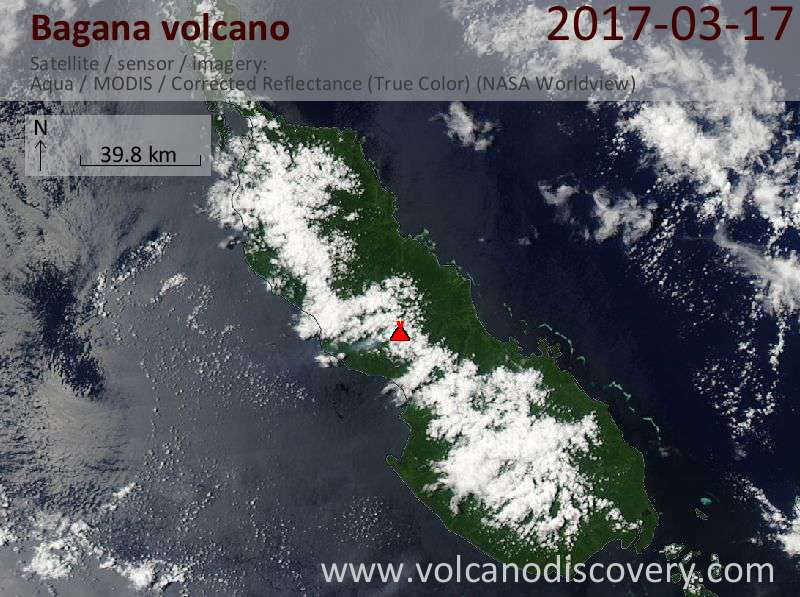 Satellite image of Bagana volcano on 17 Mar 2017