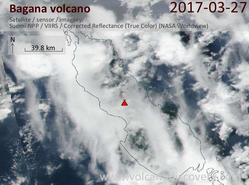 Satellite image of Bagana volcano on 27 Mar 2017
