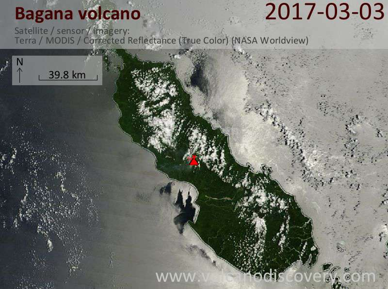 Satellite image of Bagana volcano on  3 Mar 2017