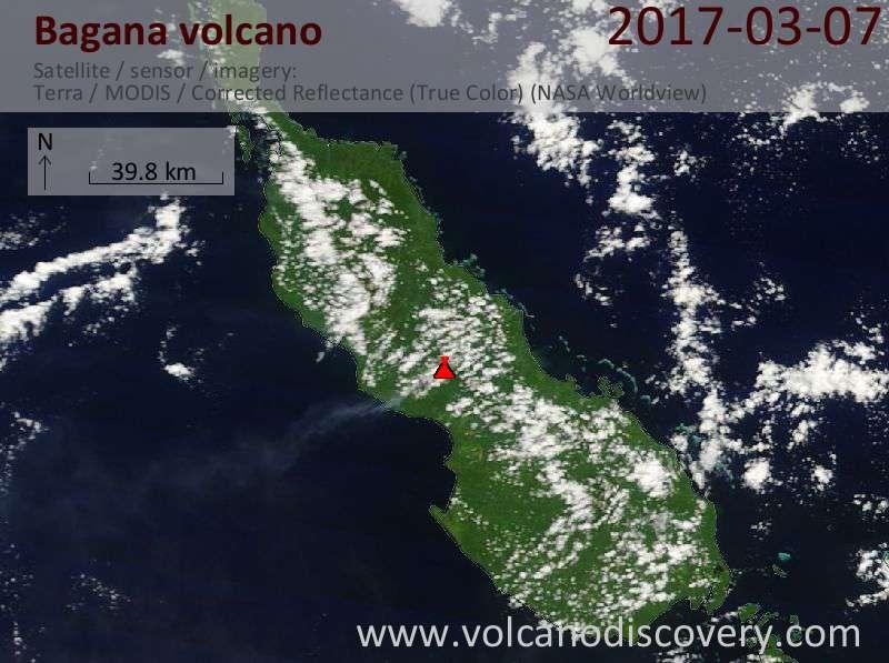 Satellite image of Bagana volcano on  7 Mar 2017