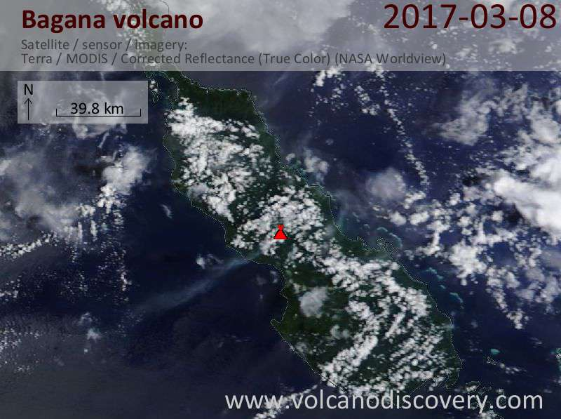 Satellite image of Bagana volcano on  8 Mar 2017